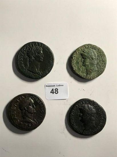 Sesterce: 4 exemplaires. Claude (retouché) - Néron (2 ex.) - Galba (retouché). Revers...