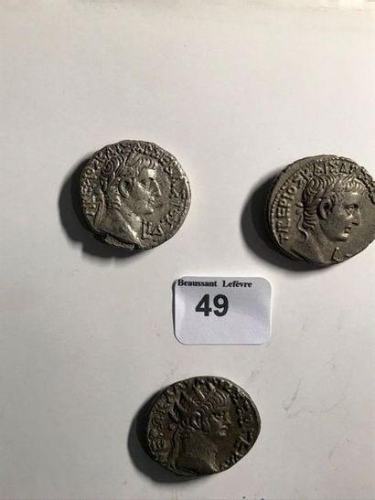 Tétradrachme colonial: 3 exemplaires. Alexandrie - Tibère et Auguste (2 ex.) - Néron...