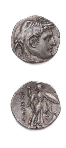 Tétradrachme. 15,58 g. Tête d'Alexandre le Grand à droite, coiffée de la peau d'éléphant....