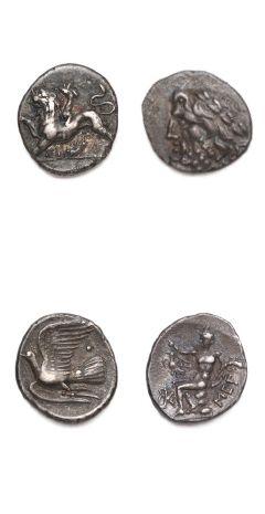Hémidrachme: 3 exemplaires. Sicyone (400-300 av. J.-C.) 2 ex. et Ligue arcadienne,...