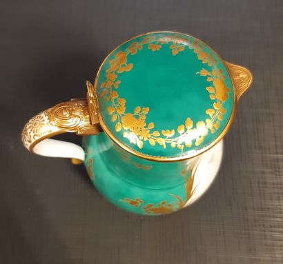 VINCENNES Ordinary covered milk jug, polychrome decoration of two cherubs in clouds...