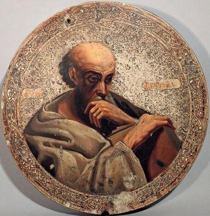 Icône ronde ornée d'un buste de Saint Matthieu....