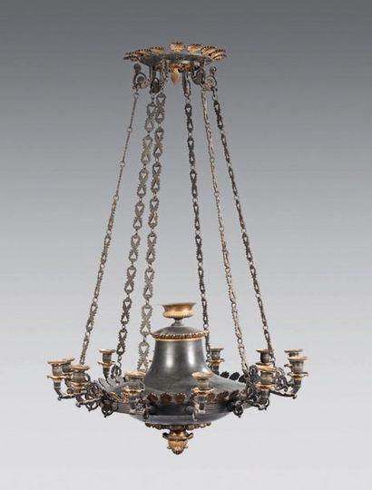 Grand lustre en forme de lampe antique en...