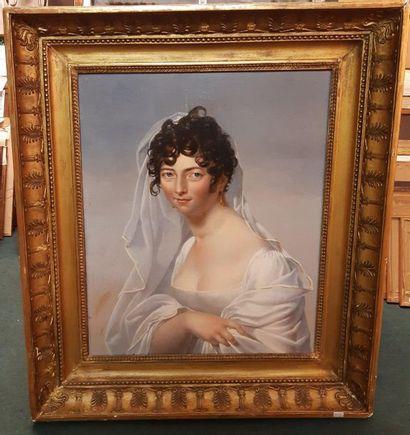 Entourage du Baron GERARD (1770-1837) Portrait de femme à la robe blanche Huile sur...