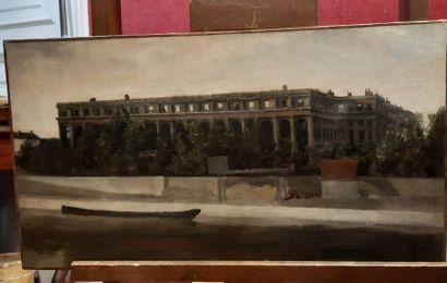 École FRANÇAISE de la fin du XIXe siècle Les ruines de la Cour des Comptes Huile...