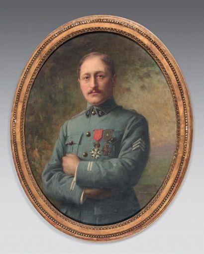 Édouard CABANE (né en 1857) Portrait de René Ratisbonne en uniforme de lieutenant...