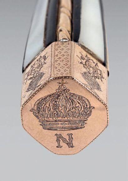 Couteau corse «Vendetta» ayant appartenu à l'Empereur Napoléon III. Poignée à pans...