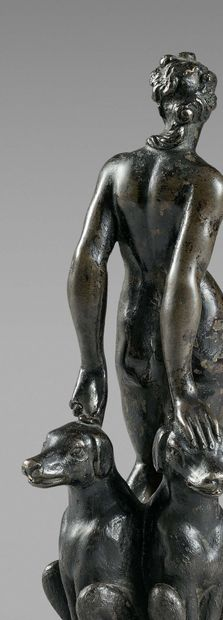 Attribuée à Barthelemy PRIEUR (1536-1611) Nymphe dénudée prenant appui sur deux chiens...