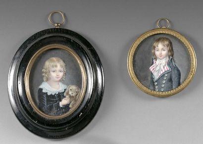 Deux miniatures, l'une ovale ornée d'une...