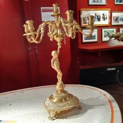 Paire de grands candélabres en bronze doré,...