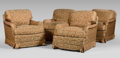 Quatre fauteuils modernes capitonnées de...