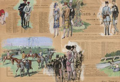 Maurice TAQUOY (1878-1952) Courses à Auteuil, réunion d'été, dimanche 20 juin 1926,...