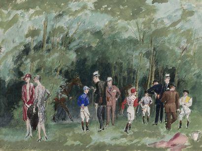Maurice TAQUOY (1878-1952) Chantilly avant le Prix de Diane, 1929 Gouache, signée...