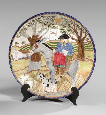 Plat en céramique moderne orné d'une paysanne...