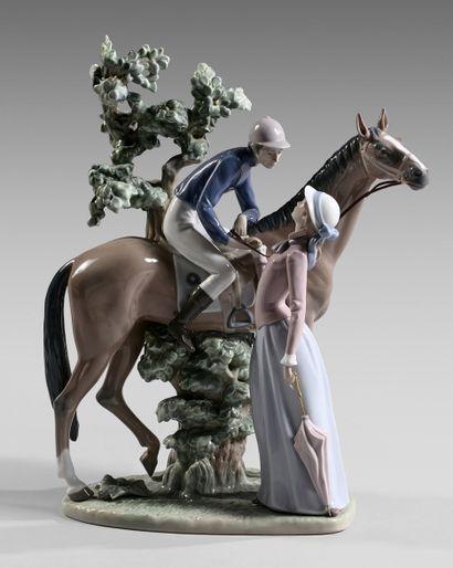 Statuette en porcelaine représentant un jockey...