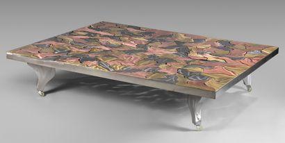Grande table basse contemporaine en métal...