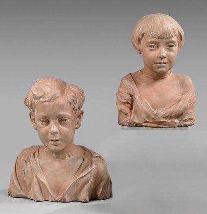 Ottilio PESCI Portraits de Daniel et Myriam Wildenstein enfants Deux bustes en terre...