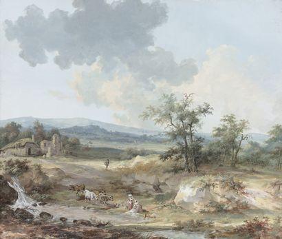 Attribué à Louis-Gabriel MOREAU dit MOREAU l'Aîné (1740-1805) Paysage aux lavandières...