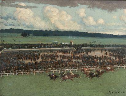 Louis-Ferdinand MALESPINA (1874-1940) Longchamp, la dernière course Huile sur panneau,...