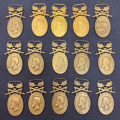 Roumanie - Lot de quinze médailles pour Bravoure...