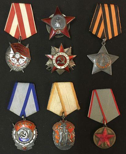 Russie - URSS, lot de sept décorations de...