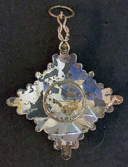 Perse / Iran - Ordre d'Homayoun, bijou de chevalier en argent, le centre en vermeil...