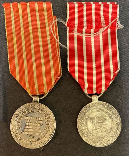 Lot of two commemorative medals of the Italian Campaign, 1859, 2nd type in silver...
