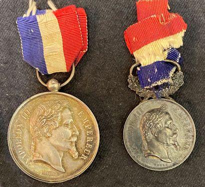 Second Empire - Lot de deux médailles pour...