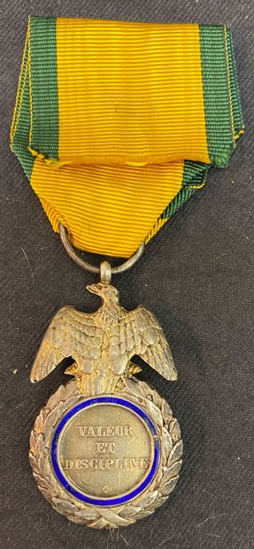 Military medal, 2nd type in silver, vermeil and enamel (chips), the reverse side...