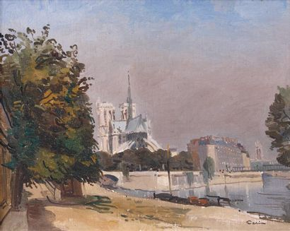 Edmond CÉRIA (1884-1955) Paris, la Seine au chevet de Notre-Dame Huile sur carton...