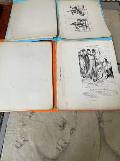 Cartons à dessins comprenant un lot de gravures...