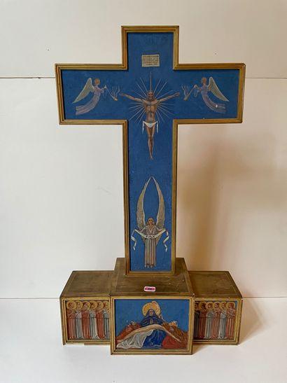 Croix d'autel en bois doré et polychrome...