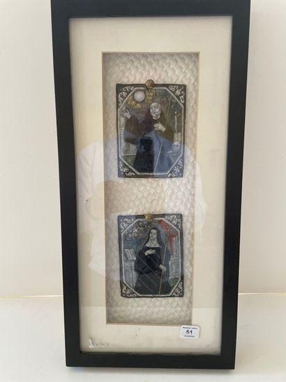 Deux plaques en cuivre émaillé représentant...