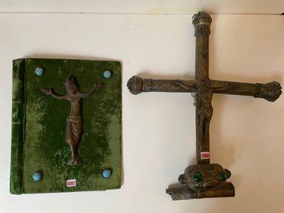 Croix de procession en laiton et cabochons...