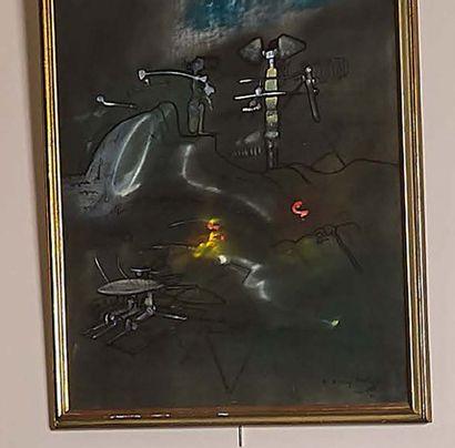 ROBERTO MATTA (1911-2002) Sans titre Huile sur toile signée et dédicacée «à Malitte...