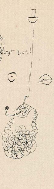 Paul Klee (1879-1940) Liegt tot, 1926, 173 (H3) Encre sur papier contrecollé sur...