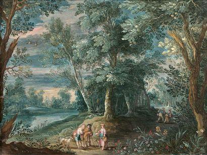 Jasper van der LAANEN (Anvers 1585 - Anvers 1634) Paysage animé de personnages Deux...
