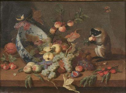 Jan van KESSEL le JEUNE (Anvers 1654 - Madrid 1708) Nature morte de fruits avec coupe...