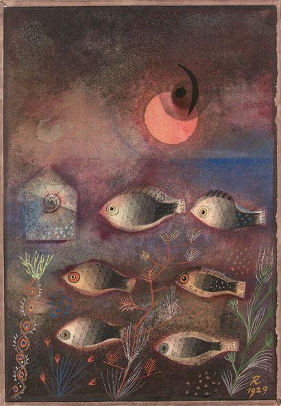 Hans Reichel (1892-1958) Fischparade, n°9, 1929 Aquarelle sur papier, signée et datée...
