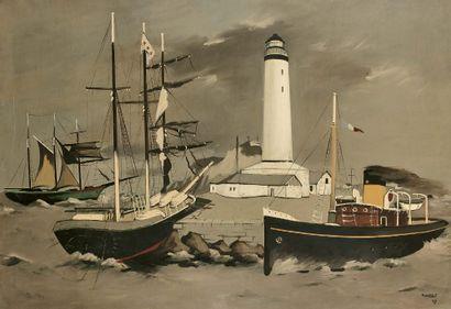 Robert HUMBLOT (1907-1962) Sans titre, 1943 Huile sur toile, signée et datée en bas...