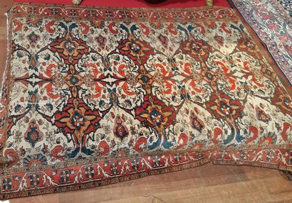 Persian carpet decorated with stylized foliage scrolls on a white background. Border...