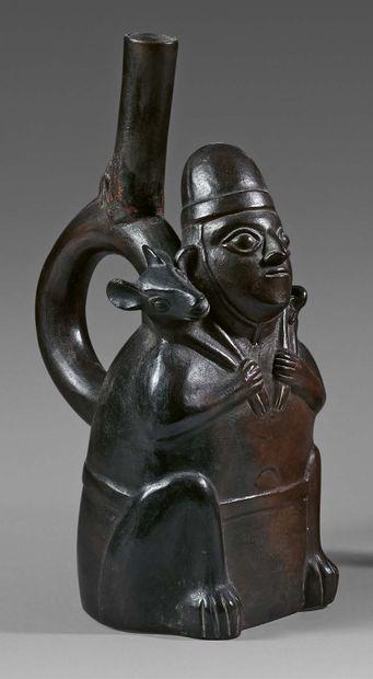 Vase représentant un personnage portant un...