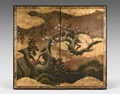 JAPON - Époque Edo (1603-1868), XVIIIe siècle Screen with two leaves, polychrome...