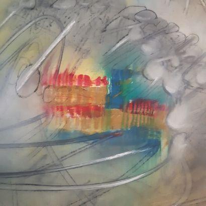 ROBERTO MATTA (1911-2002) Sans titre, 1957 Huile sur toile, signée et datée au dos....
