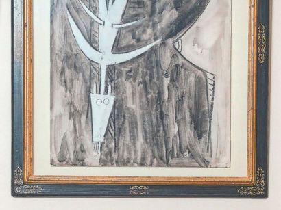 Wifredo LAM (1902-1982) Sans titre, 1961 Encre et gouache sur papier, signée et datée...