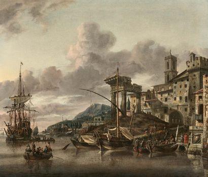 Abraham STORCK (Amsterdam 1644 - Amsterdam 1710) Vue d'embarcadère et ruines (vue...