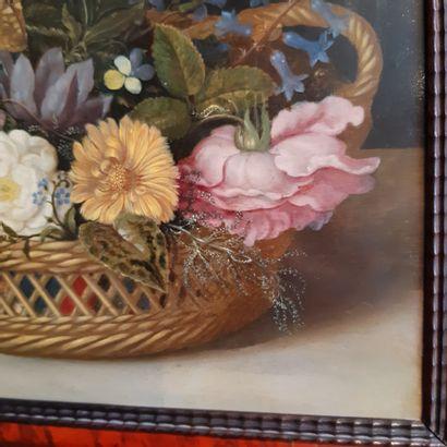 Ambrosius BOSSCHAERT l'ancien (Anvers 1573 - La Haye 1621) Basket of flowers Oil...