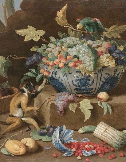 Jan van KESSEL le JEUNE (Anvers 1654 - Madrid 1708) Nature morte avec coupes de porcelaines...