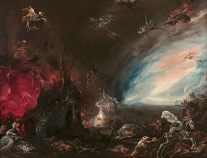 Attribué à Jacob Isaacsz van SWANENBURGH (Leyde 1571 - Leyde 1638) Scène infernale...