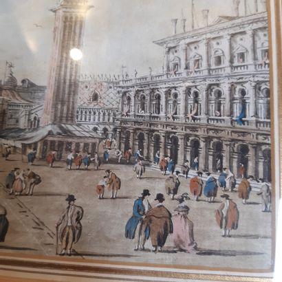 Giacomo GUARDI (Venise 1764 - Venise 1835) - Vue du pont du Rialto - Vue de la place...